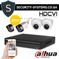 HD-CVI комплект видеонаблюдения Dahua KIT-CV4FHD-2B/2D на 4 видеокамеры с разрешением 2Мп