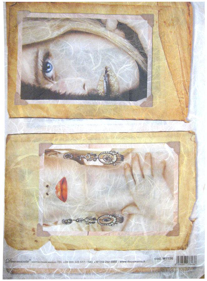 Декупажная карта-бумага рисовая 25*70 1156 Женские портреты
