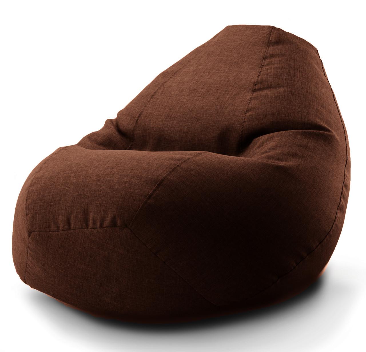 Огромное овальное кресло-мешок, груша Микро-рогожка 100*140 см. С дополнительным чехлом