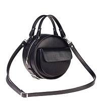 Сумка круглая черная с карманом пони, фото 1