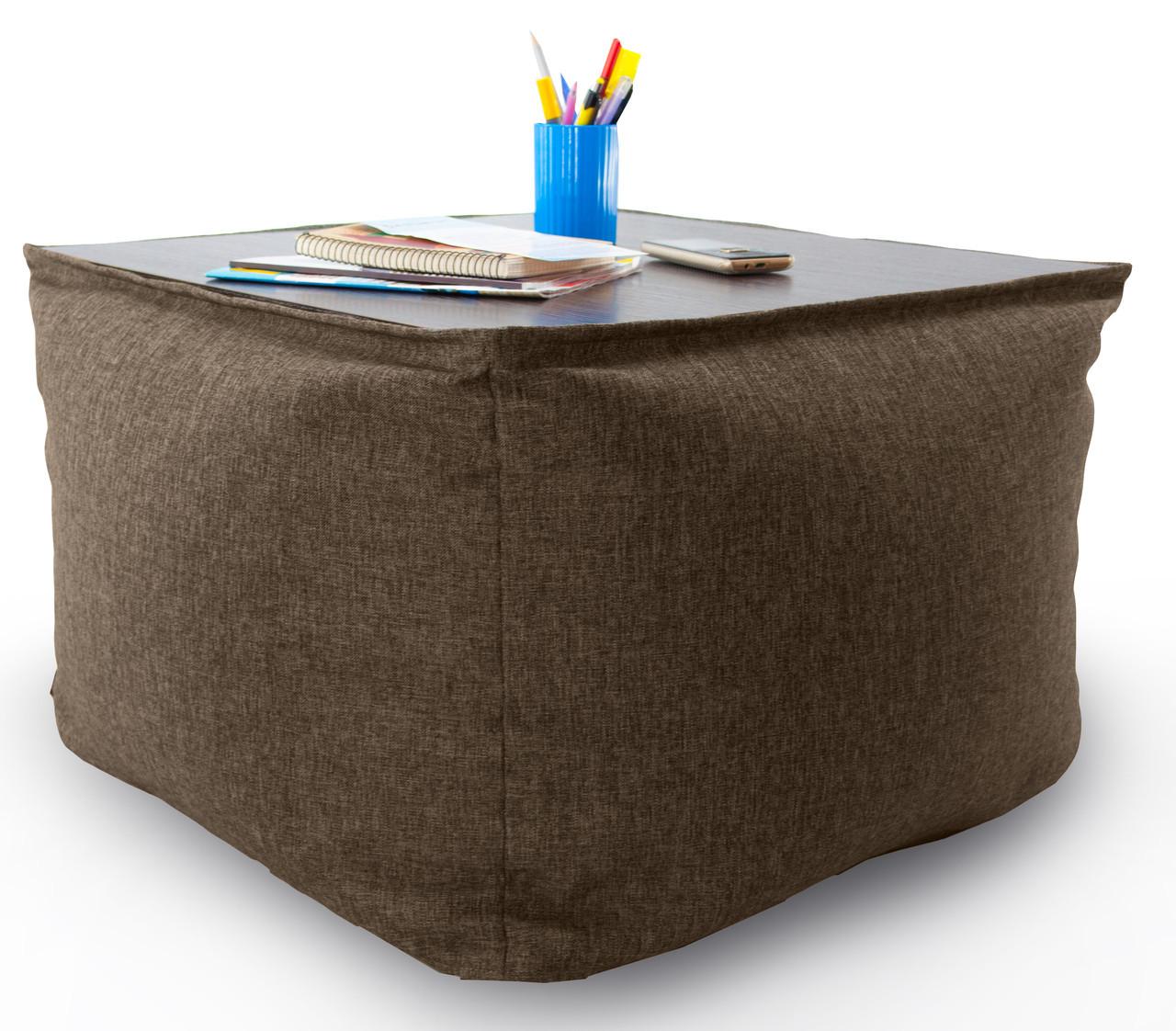Кресло мешок, журнальный столик, бескаркасный столик. Микро-рогожка 45см. С дополнительным чехлом