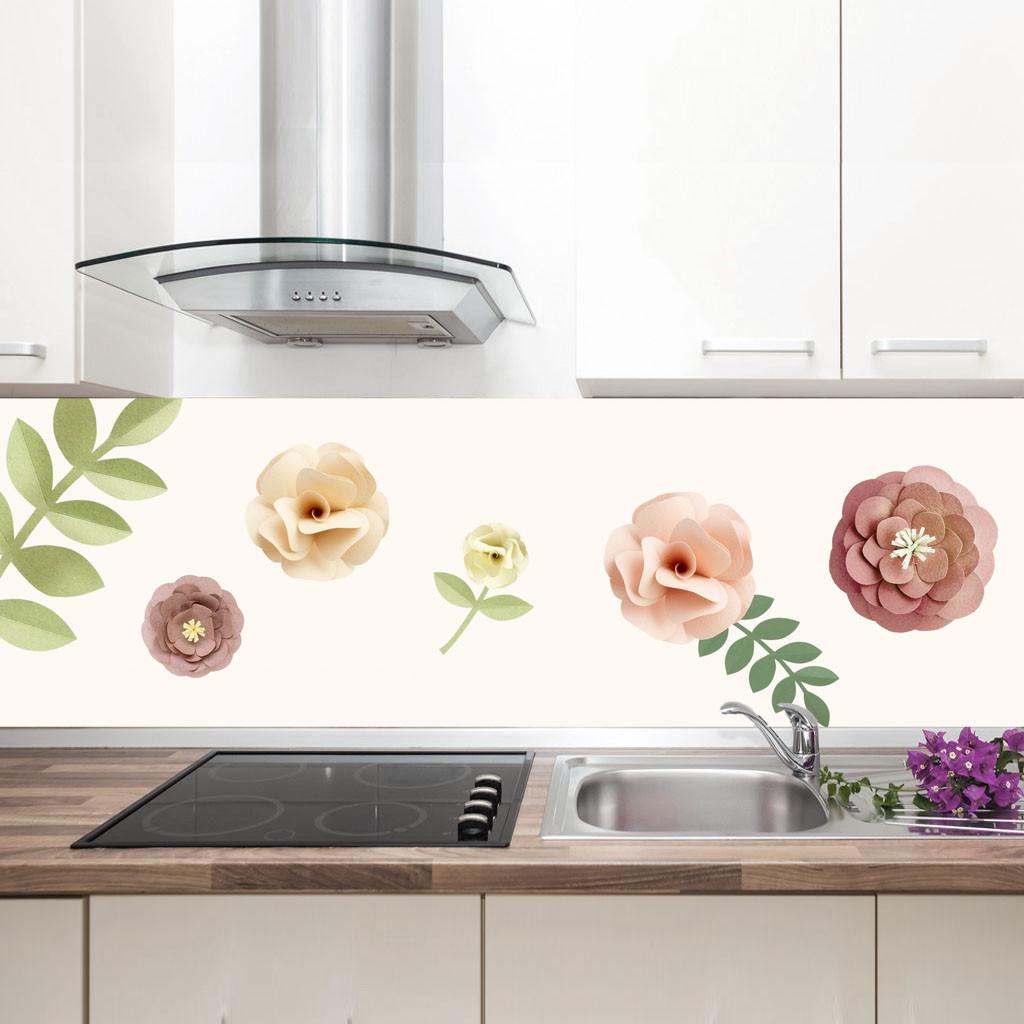 """Фартук на кухню / Скинали """"Бумажные цветы"""""""