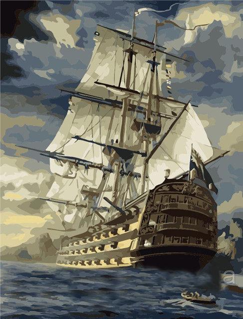 Картина раскраска по номерам на холсте 40*50см Babylon VP181/MG519 Фрегат