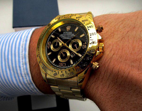 4755bfee136d Кварцевые мужские часы в стиле Rolex Daytona золото с черным золото с  черным, магазин мужских часов