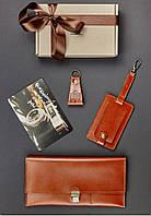 Подарочный набор коньячный (портмоне, бирка для багажа, брелок, открытка) ручная работа