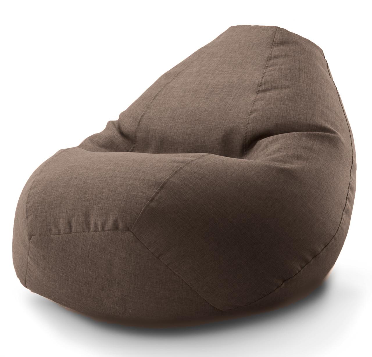 Большое овальное кресло-мешок, груша Микро-рогожка 90*130 см. С дополнительным чехлом