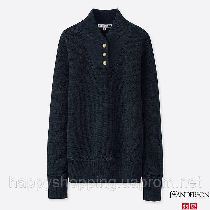 Женский темно-синий шерстяной свитер японского бренда Uniqlo  отличное качество