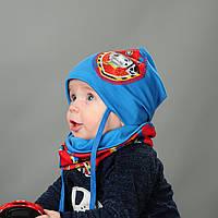 Комплект шапка и хомут для мальчиков Собачки на завязках
