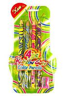 Карандаши цветные толстые 4цв. SWIRLIES Jumbo с разноцветным грифелем + точилка 128-2