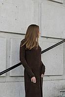 Платье-макси темно-коричневое, демисезон