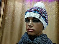 Neal TM Loman, молодежная женская шапочка на флисе с бубоном, цвет меланжевый белый с голубым и сливовым, фото 1
