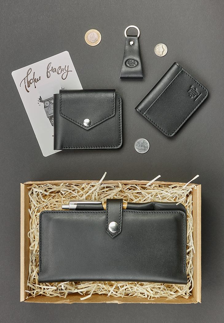 Подарочный набор кожаный черный (клатч-кошелек, портмоне, обложка для прав, брелок, открытка) ручная работа