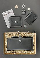 Подарочный набор кожаный черный (клатч-кошелек, портмоне, обложка для прав, брелок, открытка) ручная работа, фото 1