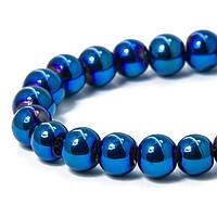 Бусины стекло, цвет: голубой с гальваническим покрытием, 6мм, 55 шт/нить, УТ1006988