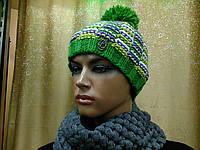 Neal TM Loman, молодежная женская шапочка на флисе с бубоном, цвет меланжевый зеленый, фото 1