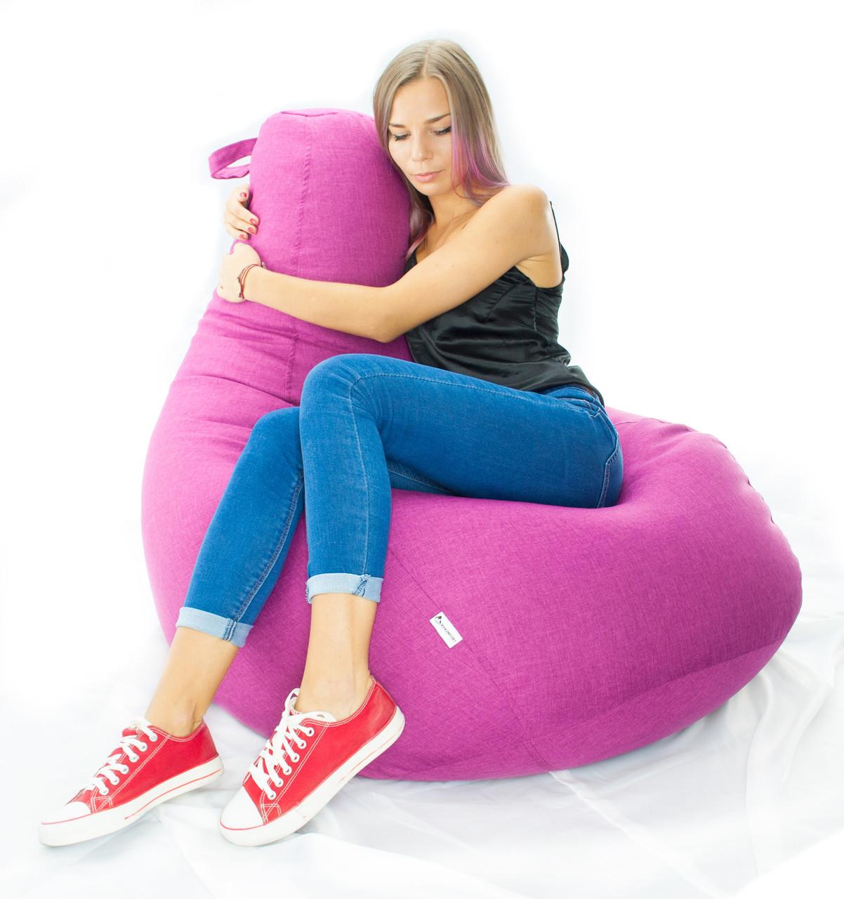 Величезне крісло-мішок груша Мікро-рогожка 100*140см. З додатковим чохлом