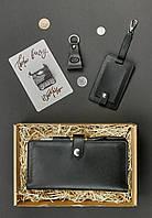 Подарунковий набір шкіряний чоловічий чорний (клатч-гаманець, брелок, багажна бирка, листівка) ручна робота, фото 1