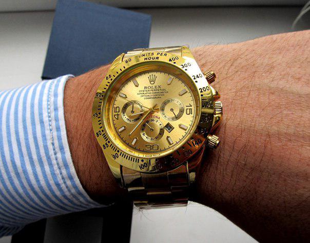 Кварцевые мужские часы Rolex Daytona золото, магазин мужских часов -  Интернет - магазин MaxTrade в 16694410192