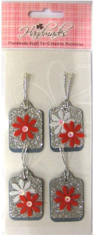 Прикраси для скрапбукінгу самоклеючі EnoGreeting Квіти з блискітками 4 шт. HM-000-07