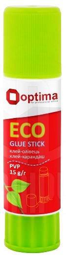 Клей-карандаш 15гр OPTIMA ECO перманентный, PVP основа, белый O45214