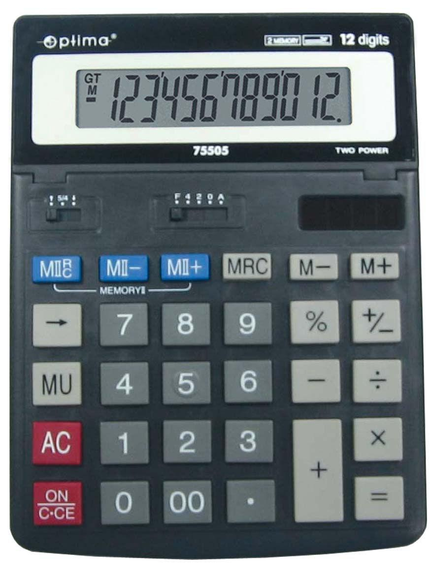 Калькулятор OPTIMA 12 разрядов 200*150*27мм 75505