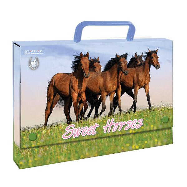 Портфель А4 StarPak Horses картон пустой на кнопках 298956