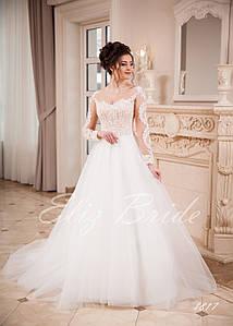 Свадебное платье А-силуэт с рукавами, цвет айвори