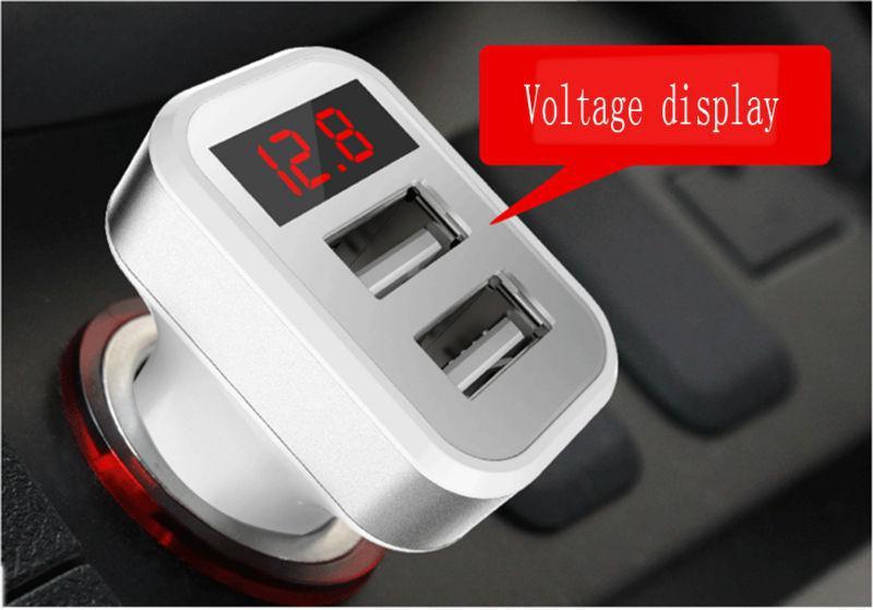 Автомобильное зарядное с индикатором напряжения и тока (2 USB 5V 3.4)