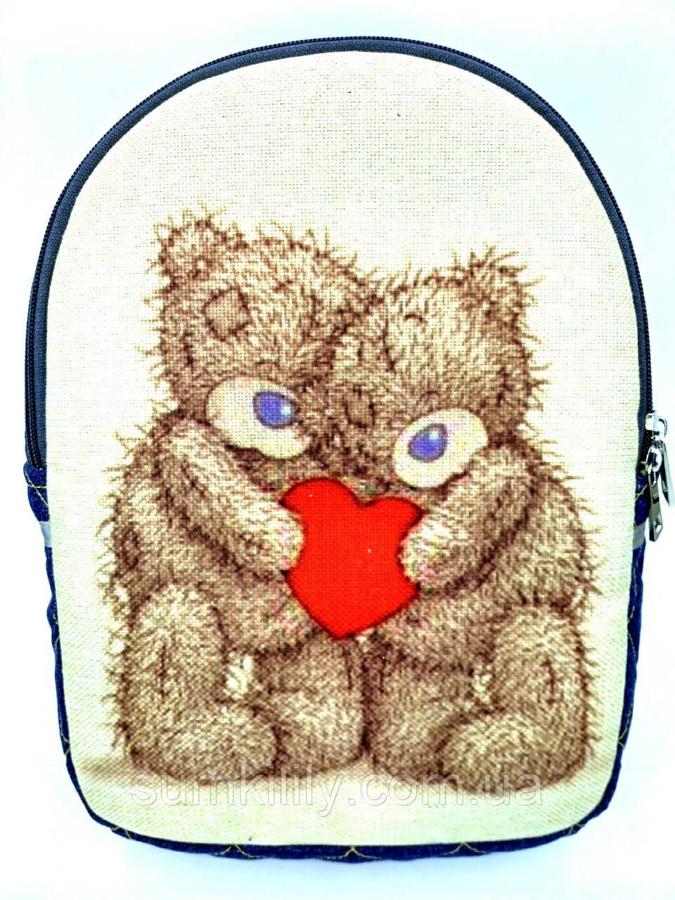 Детский джинсовый рюкзак Мишки Тедди