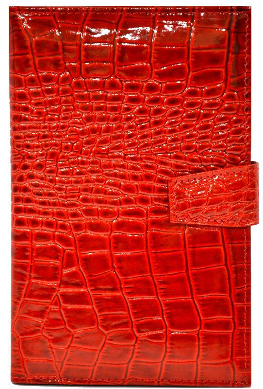 Визитница кожаная Canpellini на 60 визиток 126-18 Кроко красный лак