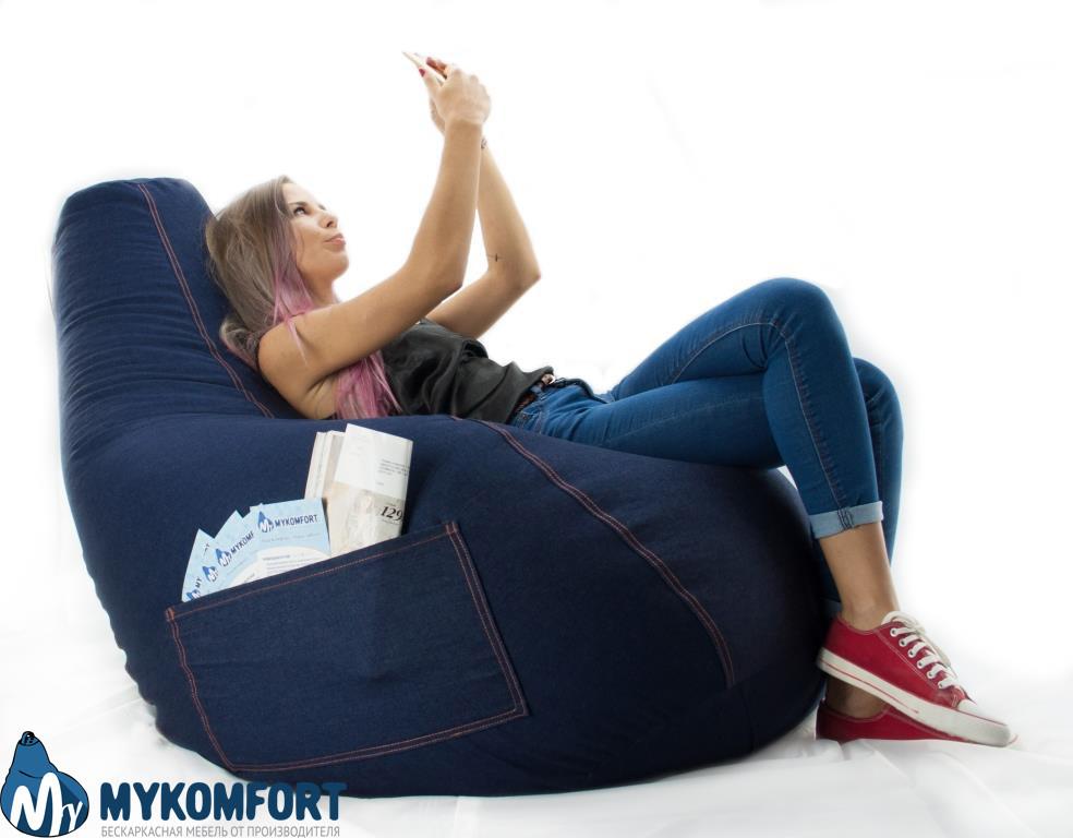 """Кресло-мешок, груша """"Джинс"""" 100*140 см"""