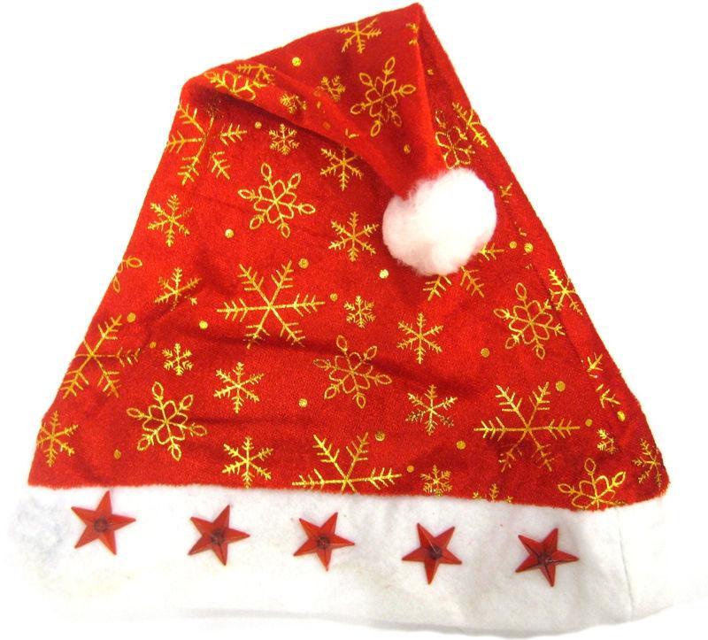 Новогодняя шапочка-колпак №674 37см текстиль с электрическими лампочками-звездочками
