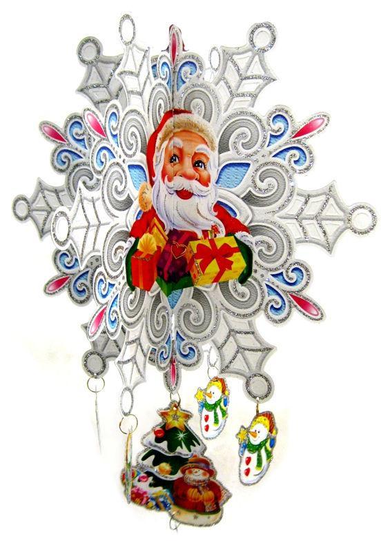 Украшение новогоднее бумажное Подвеска Снежинка G812-1 55см