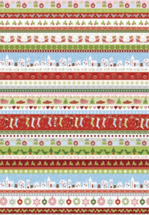 Бумага для скрапбукинга Heyda А4 300г/м2 9451828 Новогодние ленты, Красная
