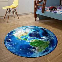 Круглый 3D коврик, 80 см. земля