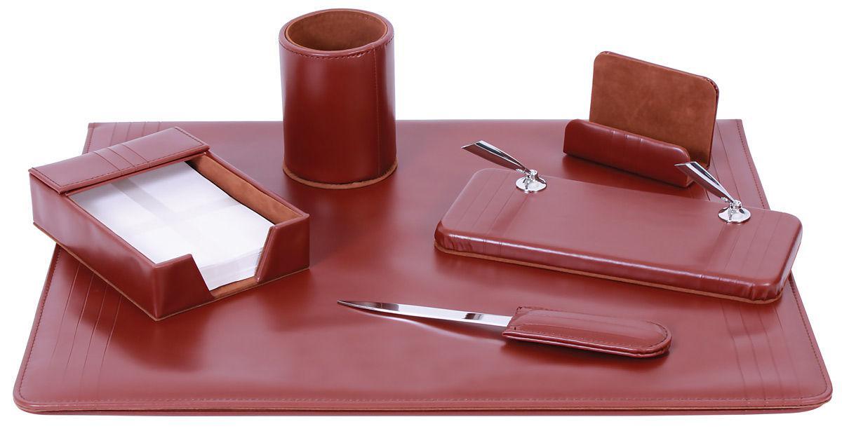 Настольный набор кожзам Optima Cabinet 6 предметов, коричневый O36480