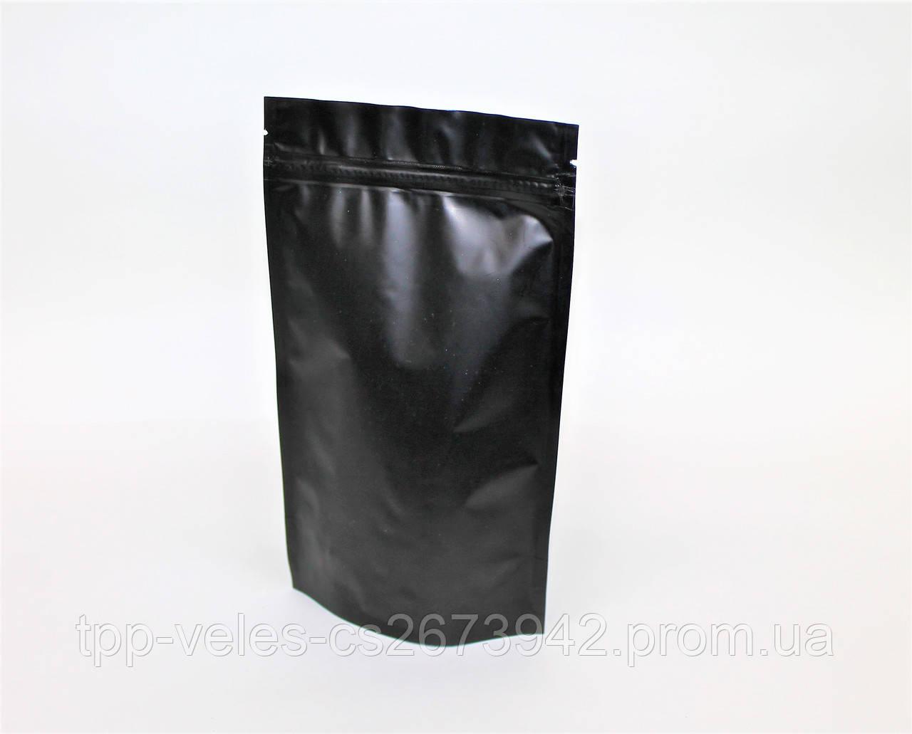 Пакет Дой-пак с zip замком 250 г  Черный 140х240 (40+40)