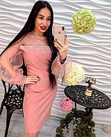 Модное женское платье рукава фонарик из органзы