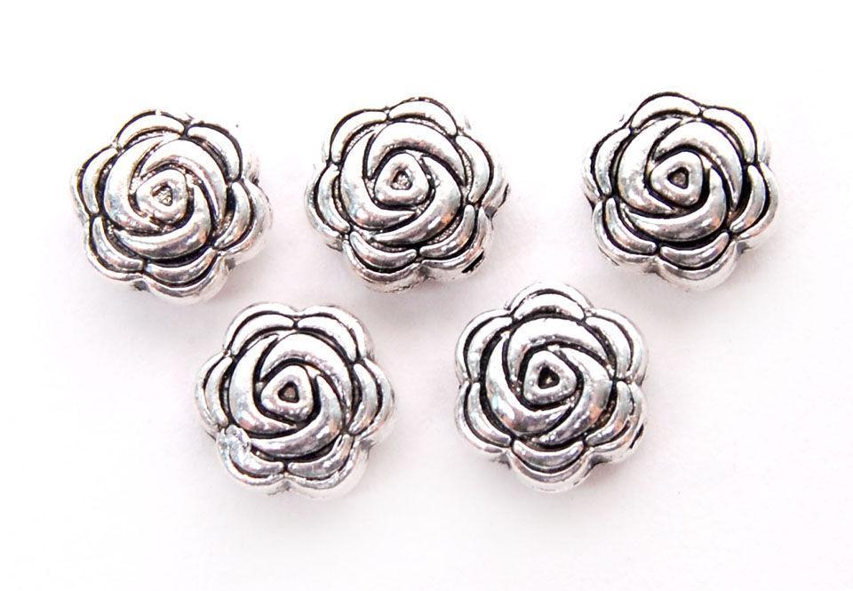 Бусины металлические Margo Розы 8*4мм, 10шт, Античное серебро