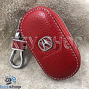 Ключница карманная (кожаная, красная, на молнии, с карабином, с кольцом), логотип авто Acura (Акура)