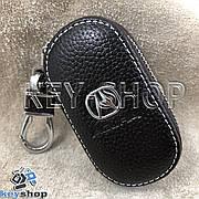Ключница карманная (кожаная, коричневая, на молнии, с карабином, с кольцом), логотип авто Acura (Акура)