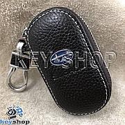 Ключница карманная (кожаная, коричневая, на молнии, с карабином, с кольцом), логотип авто Subaru (Субару)