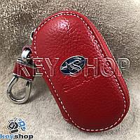 Ключница карманная (кожаная, красная, на молнии, с карабином, с кольцом), логотип авто Subaru (Субару)
