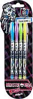 Ручки в наборе 4цв. KITE мод 066 гелевые неоновые Monster High MH14-066K