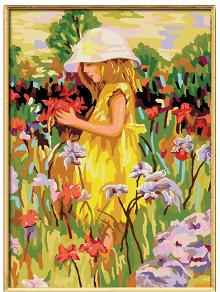 Картина раскраска по номерам на холсте 40*50см Идейка MG022/G029 Алиса с цветами