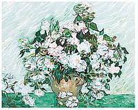 Картина раскраска по номерам на холсте 40*50см Babylon VP591 Ваза с розами. Ван Гог, аналог G281