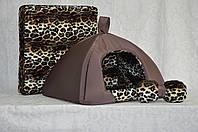 Домик юрта для котов и собак Леопард-2 коричневый