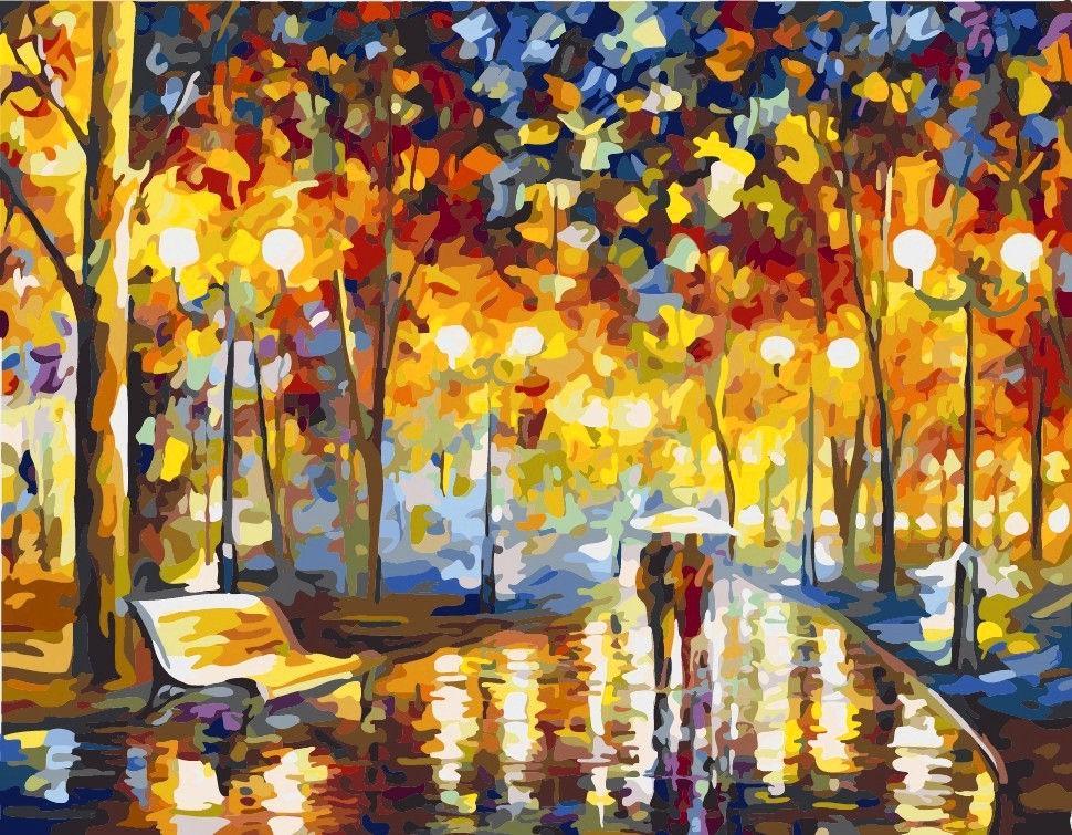 Картина раскраска по номерам на холсте  - 40*50см Идейка КН2622 В осеннем парке