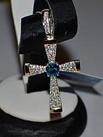 Серебряный крестик из серебра с золотыми вставками