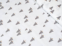 Сатин (хлопковая ткань) серые елки